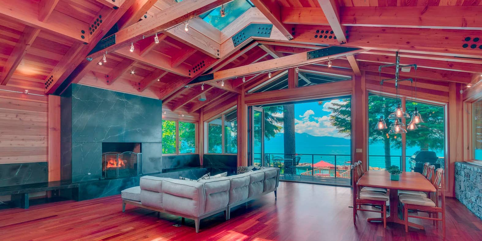 Inside a house in Lake Tahoe designed with Woods