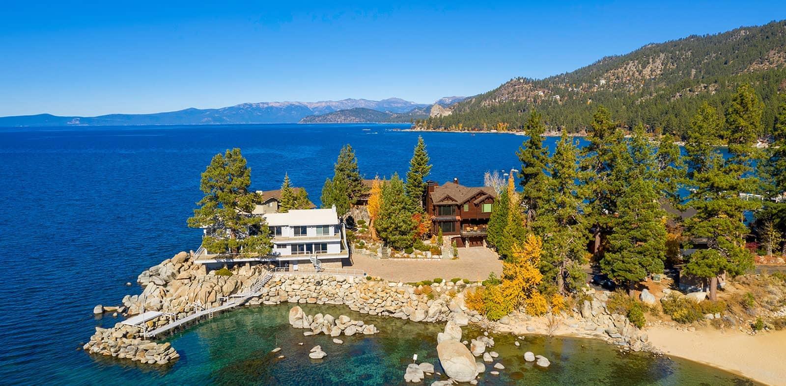 A mordern house near the shore of Lake Tahoe